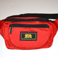 """Vintage 1980's/Early 1990's Red Nylon """"TA"""" Fanny Pack - Adjustable with Lots of Pockets"""