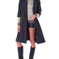 Playing It Cool Dropped Shoulder Oversized Coat - Gray