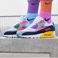 NIKE Air Max 90 Women Men Casual Rainbow Hook Running Sneakers Sport Shoes