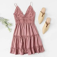 Floral Crochet Mini Cami Dress