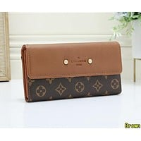 LV Louis Vuitton Newest Fashion Women Leather Wallet Purse Brown