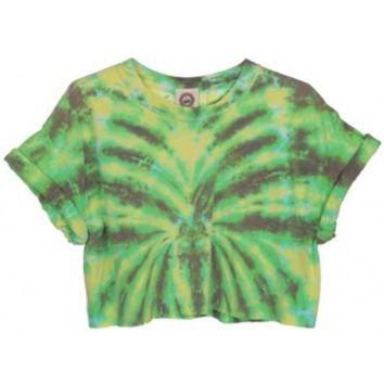 Rokit Recycled Green Tie Dye Cropped T-Shirt