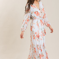 Stacey White Floral Wrap Maxi Dress