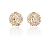 River Island Womens Gold tone coin stud earrings