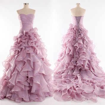 2016 Strapless Organza Ruffles Evening Dresses Prom Gowns pst0166