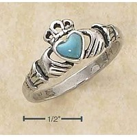 Sterling Silver Ring:  Small Antiqued Claddagh Ring With Reconstituted Turquoise Heart