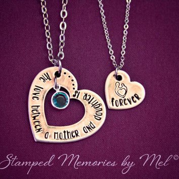 The Love Between a Mother and Daughter is Forever - Hand Stamped Copper Heart Necklace Set - Mom and Daughter Jewelry - Birthstone Accent