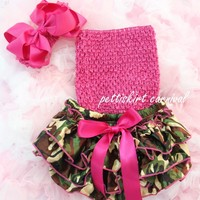 Newborn Baby Girls Camo Satin Bloomers Hot Pink Tube Top Bow Headband 3pc NB-24M