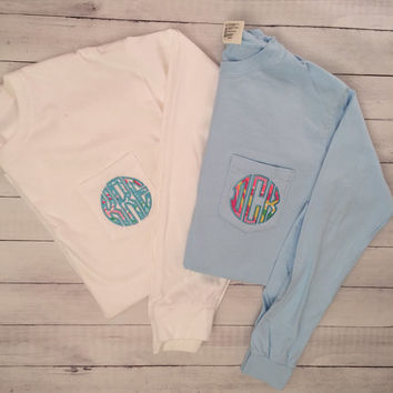 Lilly Pulitzer Monogrammed Long Sleeve Shirt -  Pocket Tee - Adult Applique Tshirt