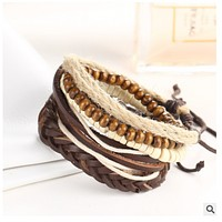 New wooden bead rope rope rope adjustable woven beads beads diy bracelet with the same paragraph jewelry