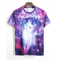 TM fashion Outer space White Cat men short sleeve top 3D print hip hop tee shirt