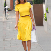 Yellow Short Sleeve Cropped Top and Hip-Pleated Midi Skirt Dress