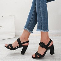 Summer women's shoes large size high heels new sandals thick heel fish mouth women sandals