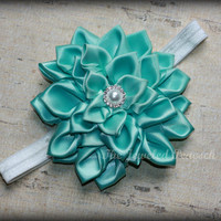 MINT GREEN, kanzashi flower, headband, pearl, baby girl, child, hairclip, m2m well dressed wolf, magnolia, persnickety, boutique, infant,