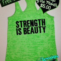 Tank Top of the Month. Strength is Beauty. Motivational Workout Clothes. Fitness Apparel. Running Tank. Free Shipping USA