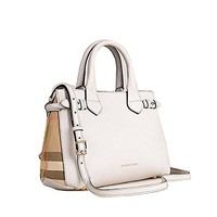 Tote Bag Handbag Authentic Burberrry The Small Banner in Leather and House Check Natural Item 39627451