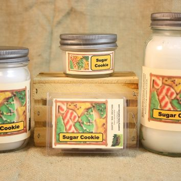 Sugar Cookie Candle and Wax Melts, Bakery Scent Candle, Highly Scented Candles and Wax Tarts, Dessert Scent Candle, Mason Jar Candle