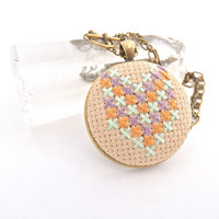 Cross Stitch Necklace Embroidery in Pastel Chevron by zelmarose