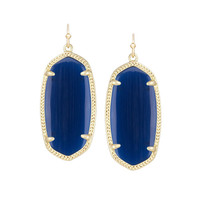 Kendra Scott Elle Navy Blue Catseye Earrings 14K Gold Plated