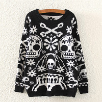 Black Skull Print Knitted Sweater