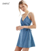 New Summer MIdi Denim Dresses Women's Vintage Sexy V Neck Sleeveless bandage Women mini dress