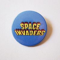 """Space Invaders logo 1x1.5"""" pinback button badge from Stickerama"""
