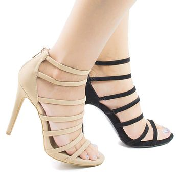 Newbee44M By Anne Michelle, Open Toe Multi Strap Stiletto High Heel Sandal