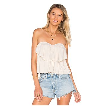 Paloma Flounce Strapless Tie Top in White