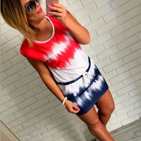 Tie Dye Drawstring Dress 10240