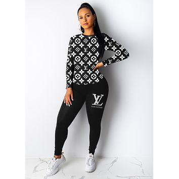 LV Louis Vuitton Women High Collar Sweater Pants Set Two-Piece