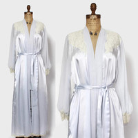Vintage DIOR Peignoir Dressing Gown / 1980s Ice Blue Satin & Sheer Chiffon Lace Trim Belted Robe