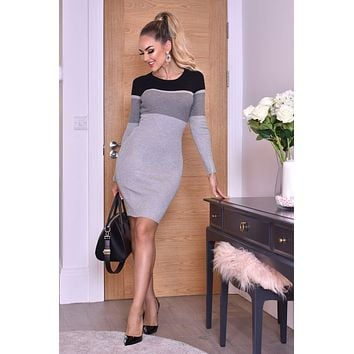 Ribbed Color block Striped Long Sleeve Slim Fit Gray Black Bodycon Sweater Dress