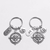 Choose Initial, Compass BFF Best Friend Nautical Direction Gift Keychain Set