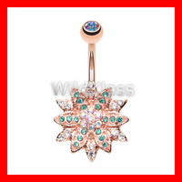 Rose Gold 14g Navel Ring Flower Entice Aurora Borealis Teal Belly Button Ring Navel Jewelry Navel Belly Button Jewelry Belly Piercing Navel