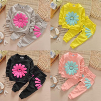 Sun Flower Cute T-shirt Jumper Tops + Pants Outfit Clothing Spring Fall New Kids Infant Baby Girls Clothes Sets 1 2 3 4 Years