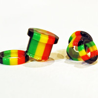 """PAIR weed seed plugs ...choose size... 0g 8mm 00g 9mm 1/2"""" 12.5mm 9/16"""" 14mm 5/8"""" 16mm rasta screw fit tunnels REAL hemp ...ready to ship..."""