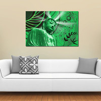 Large XLPrint on Stretched Canvas Jade Green Buddha 36x24 Limited Edition Ready to Hang