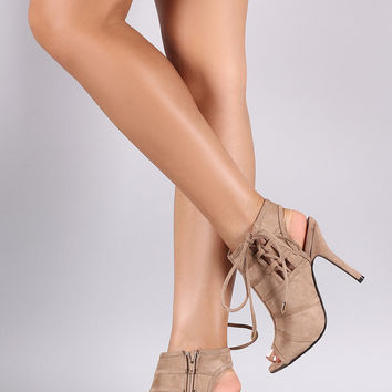 Suede Side Lace-Up Peep Toe Stiletto Booties