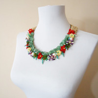 Floral necklace handmade jewelry lace necklace oya necklace gemstones collar necklaces gifts for her