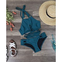 Final Sale - Minkpink - Oceans Criss Cross Bikini Separates in Dark Teal