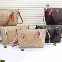 Coach fashion selling a casual shopping shoulder bag with printed patchwork color