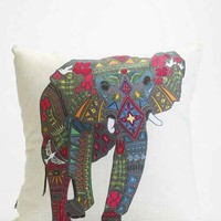 Sharon Turner For DENY Painted Elephant Pillow- Black & White One