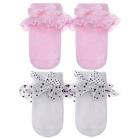 Spring Baby Socks Toddler born Girls Warm Cotton Bowknot Lace Trim Cute Princess Socks Cute Dot Print Infant Socks for Girls