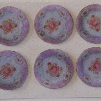Plates, card, lavender edge posy,  hand finished, twelfth scale dollhouse accessory