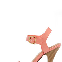 Strappy Occasion Salmon Pink Snakeskin Ankle Strap Heels
