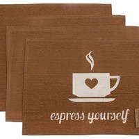 Espress Yourself Set 4 Placemats 13x19 Coffee Kitchen Dining Table Fabric Brown
