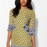 Native Rose Patchwork 3/4-Sleeve Shift Dress- Yellow S
