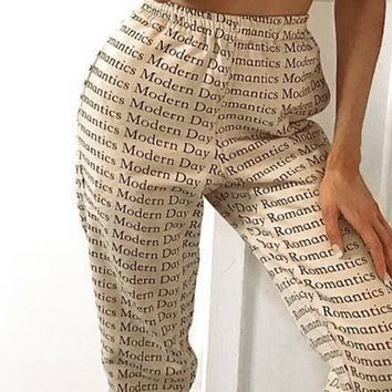 New Hot Sale Letter Printed Bandage Tight Pants