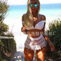 Women's Trending Popular Fashion Lace Lace Sexy High Waisted Two-Piece Erotic Bikini Swim Suit Beach Bathing Suits Swimwear _ 6361