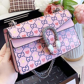 GUCCI New fashion more letter love heart print leather chain crossbody bag shoulder bag